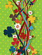 Decorative Floral Pattern With Clover Leaves And Flowers In Colors