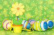 Decorative Flower And Easter Eggs On The Green Background stock image