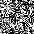 Decorative Graphic Curly Background With Flowers And Leaves