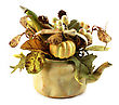 Decorative Pot With Dry Plants On White Background