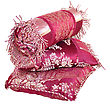 Decorative Red Silk Pillows On White Background