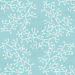 Decorative Trees Seamless Pattern. Floral Background In Blue And White Colors. Vector Background
