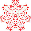 Decorative Vector Snowflake Of Red Color stock illustration