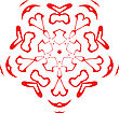 Decorative Vector Snowflake Of Red Color