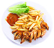 Deep-fried Potatoes With Fry Shrimps And Lettuce. Isolated Over White Background stock image