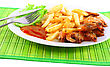 Deep-fried Potatoes With Fry Shrimps And Lettuce. Isolated Over White Background stock photo