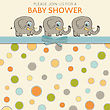Delicate Baby Shower Card With Little Elephants, Vector Format