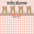 Delicate Baby Shower Card With Teddy Bears, Vector Format