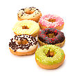 Surprise Delicious Doughnuts Isolated On White Background stock photography