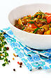 Delicious Eggplant Paste With Tomato, Sweet Pepper And Fresh Herbs. Asian Food stock image