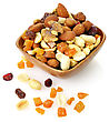 Fiber Delicious And Healthy Mixed Dried Fruit, Nuts And Seeds stock photo