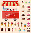 Delicious Sweets And Ice Cream Cart Market Icons Set - Vector