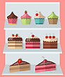 Delicious Sweets And Ice Cream Stand Market Icons Set - Vector