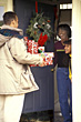 Delivering Christmas Presents stock image