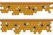 Design Elements For A Seamless Border, Pattern With Working Bees On A Honeycomb.
