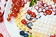 Prepared Food Dessert With Belgian Waffles And Fresh Berries stock photo