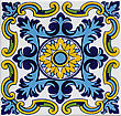 Detail of the traditional tiles (azulejos) from facade of old house in Valencia, Spain stock photo