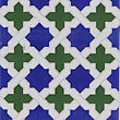 Detail of the traditional tiles (azulejos) from facade of old house in Valencia, Spain