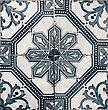 Element Detail of the traditional tiles (azulejos) from facade of old house in Lisbon, Portugal stock photo