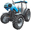 Detail Vector Image Of Modern Blue Tractor With Open Hood, Isolated On White Background. File Contains Gradients And Transparency. No Blends And Strokes. Easily Edit: File Is Divided Into Logical Laye