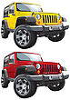 American Jeep, Executed In Two Variants Of Color. Every Jeep Is In Separate Layer. No Blends And Gradients