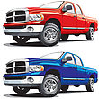 American Modern Pickup, Executed In Two Variants Of Color. Every Pickup Is In Separate Layer. No Blends And Gradients