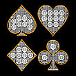 Diamond Shaped Card Suits With Golden Framing Over Black Background. Other Gems Are In My Portfolio. Extralarge Resolution