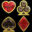Diamond Shaped Card Suits With Golden Framing Over Black Background. Other Gems Are In My Portfolio.