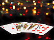 Dice And Playing Cards- Poker Royal Flesh. On Back Background -casino Lights stock photo