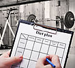 Diet Plan Against Trainers And Sports Equipment stock photo