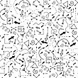 Different Arrows Seamless Pattern On White. Hand Drawn Symbols