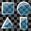 Different Glass Banners On Grey Checkered Background