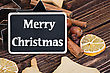 Different Kinds Of Spices, Nuts And Dried Oranges - Christmas Decoration stock photo