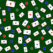 Different Playing Cards Pattern On Green Background stock illustration
