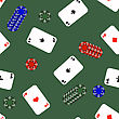 Different Playing Cards Pattern On Green Background