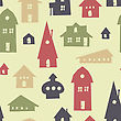 Different Shapes Houses Seamless Pattern. Vector