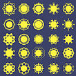 Different Sun Icons Isolated On Blue Background