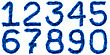 Digits Made Of Blue Tinsel stock image