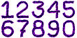 Digits Made Of Violet Tinsel stock photo