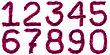 Digits Made Of Violet Tinsel stock photography