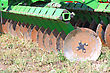 Disc Harrow Behind Tractor Turning The Soil stock image