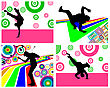 Disco Dancer Theme Set. Vector Illustration For Design Use.
