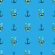 Diving Mask Icon Seamless Pattern On Blue. Extreme Sport Background