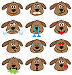Dog Emojis Set Of Emoticons Icons Isolated. Vector Illustration On White Background