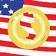 Dollar Golden Coin On United States Of America Flag Background