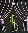 Dollar On A Theatrical Stage, Drawn On A Blackboard stock photography