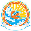 Dolphins In Sea Waves.Vector Nature Seascape Label And Scroll Background For Text