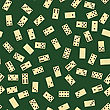 Domino Seamless Pattern Isolated On Green Background. Board Game Texture stock vector