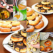 Donuts Making Collage. Six Photos. stock photography