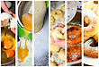 Donuts Making Collage. Six Photos. stock photo